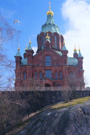 scandinavian peninsula: Helsinki, Finland - March, 14, 2016: Catholic cathedral in Helsinki, Finland
