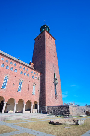 scandinavian peninsula: Stockholm, Sweden - March, 16, 2016: Сity Hall - one of the most popular tourist places in Stockholm, Sweden