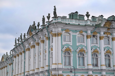 piter: St. Petersburg, Russia - March, 13, 2016: The building of Hermitage and Winter Palace in St. Petersburg, Russia