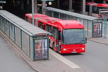 scandinavian peninsula: Stockholm, Sweden - March, 16, 2016: bus in the center of Stockholm, Sweden