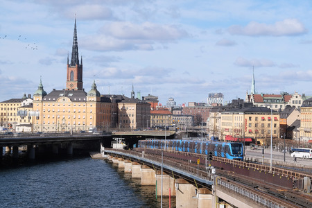 scandinavian peninsula: Stockholm, Sweden - March, 16, 2016: subway train in a center of Stockholm, Sweden