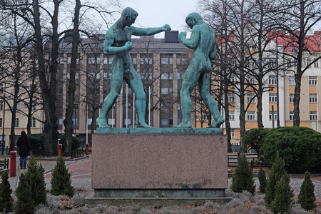 scandinavian peninsula: Helsinki, Finland - March, 14, 2016: sculpture of boxers in Helsinki, Finland