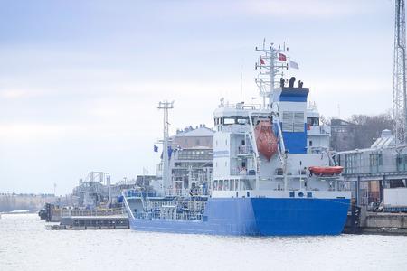 scandinavian peninsula: Helsinki, Finland - March, 14, 2016: cargo ship in Helsinki , harbour, Finland