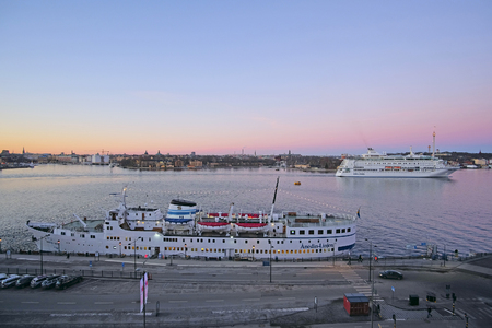 scandinavian peninsula: Stockholm, Sweden - March, 16, 2016: The image of a cruise ship near Stockholm, Sweden