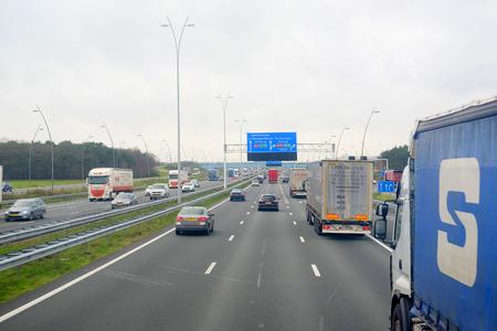 highway traffic: Belgium, central Europe, February, 5, 2016: traffic on a highway in Belgium, Europe