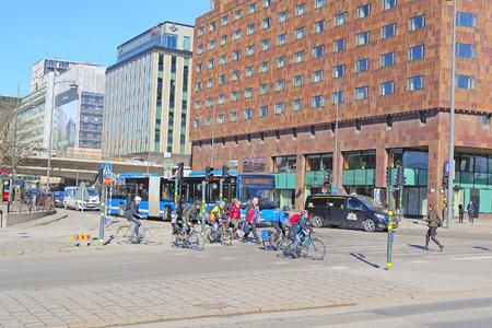 scandinavian peninsula: Stockholm, Sweden - March, 16, 2016: street in the center of Stockholm, Sweden Editorial