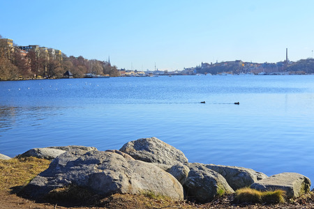 scandinavian peninsula: Landscape with the image of sea infront of Stockholm Old City