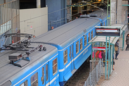 scandinavian peninsula: Stockholm, Sweden - March, 16, 2016: metro train in a center of Stockholm, Sweden