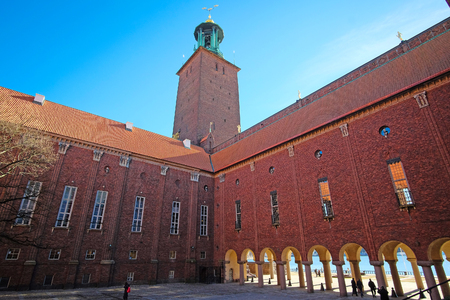 scandinavian peninsula: Stockholm, Sweden - March, 16, 2016: ?ity Hall - one of the most popular tourist places in Stockholm, Sweden Editorial