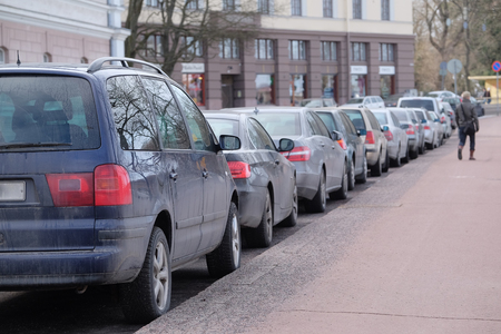 Helsinki, Finland - March, 14, 2016: the parking cars in Helsinki, Finland Editorial