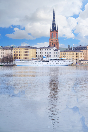 scandinavian peninsula: Stockholm, Sweden - March, 16, 2016: panorama of Old Town of Stockholm, Sweden, with the boats on a sea Editorial
