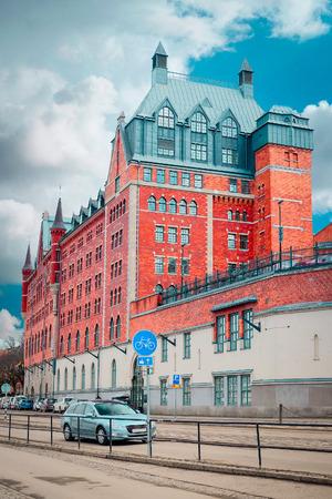 scandinavian peninsula: Stockholm, Sweden - March, 16, 2016: traffic in the center of Stockholm, Sweden