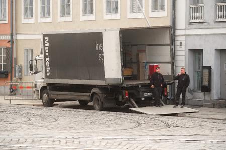 helsinki: Helsinki, Finland - April, 4, 2016: loading truck in Helsinki, Finland
