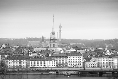 scandinavian peninsula: Stockholm, Sweden - March, 16, 2016: panorama of an old town of Stockholm, Sweden