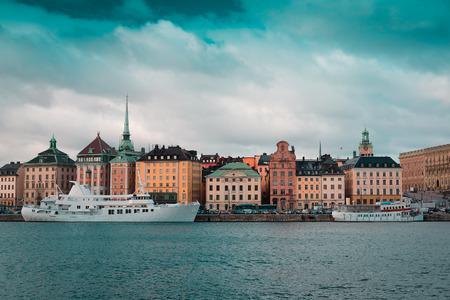 scandinavian peninsula: Stockholm, Sweden - March, 16, 2016: passenger ship in Stockholm harbour, Sweden Editorial