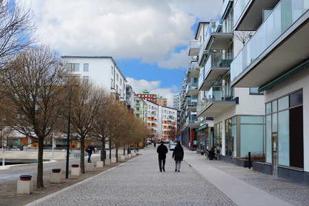 inhabited: Stockholm, Sweden - March, 19, 2016: multystoried inhabited buildings in Stockholm, Sweden