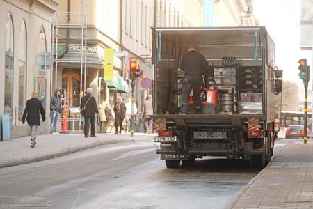 scandinavian peninsula: Stockholm, Sweden - April, 5, 2016:  loading truck in Stockholm, Sweden
