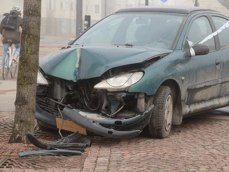 smashup: Helsinki, Finland - April, 4, 2016: crashed car in Helsinki, Finland