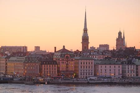 scandinavian peninsula: Stockholm, Sweden - March, 16, 2016: night landscape with the image of Stockholm, Sweden Editorial
