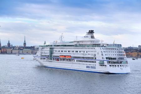 scandinavian peninsula: Stockholm, Sweden - March, 19, 2016: cruise fairy ship in Stockholm, Sweden Editorial