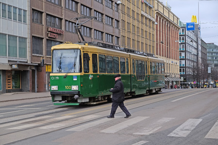 helsinki: Helsinki, Finland - March, 14, 2016: tram in Helsinki, Finland Editorial