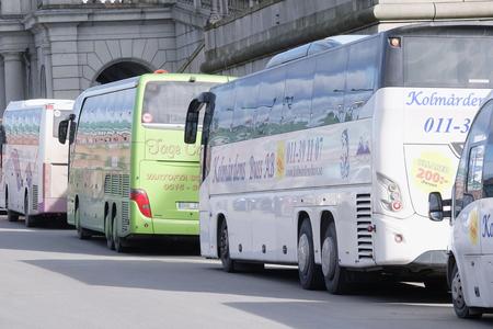 motor de carro: Stockholm, Sweden - March, 16, 2016: bus in the center of Stockholm, Sweden