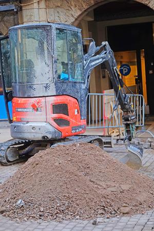 power shovel: HELSINKI, FINLAND - april, 4, 2016: digger works in Helsinki, Finland.