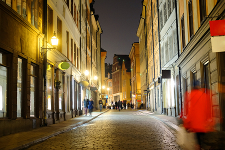 scandinavian peninsula: night cityscape with the image of a center of Stockholm, Sweden