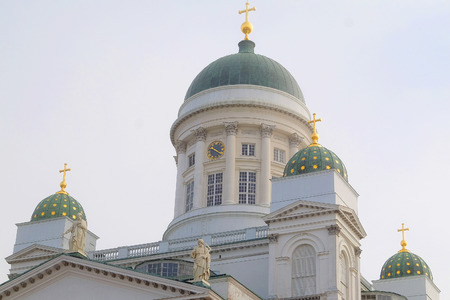 st nicholas cathedral: St. Nicholas Church and a monument of Alexander II on the Senatorial area in Helsinki, Finland.