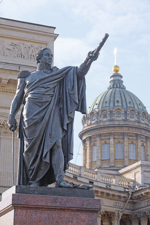 kazanskiy: Monument of Mihail Kutuzov near Kazan Cathedral in St. Petersburg, Russia. Mikhail Kutuzov, the commander-in-chief in war of Russia against Napoleon, was buried in this cathedral Stock Photo