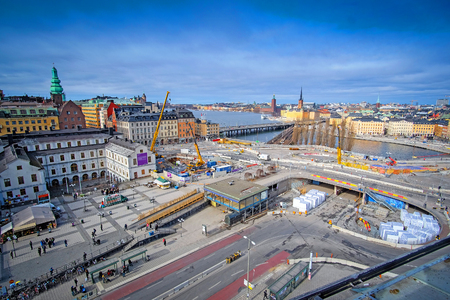 march 17: Stockholm, Sweden - March, 17, 2016: Panorama of Stockholm, Sweden with tower cranes