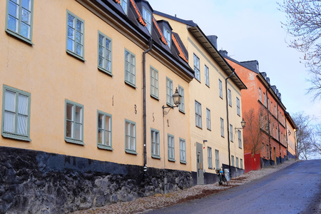 inhabited: Stockholm, Sweden - March, 16, 2016: multystoried inhabited buildings in Stockholm, Sweden Editorial