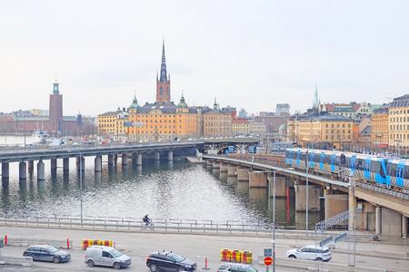 scandinavian peninsula: panorama of an old town of Stockholm, Sweden Stock Photo