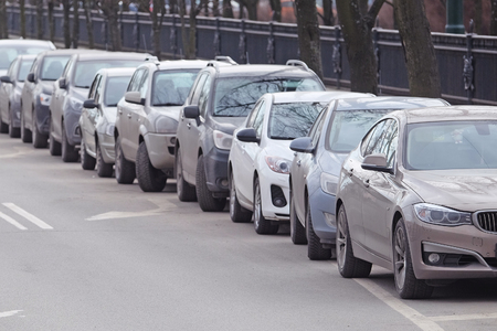 piter: Cars on a parking in St. Petersburg, Russia. Stock Photo
