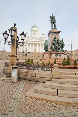 lutheran: St. Nicholas Church and a monument of Alexander II on the Senatorial area in Helsinki, Finland.