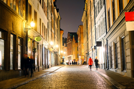 scandinavian landscape: night cityscape with the image of a center of Stockholm, Sweden