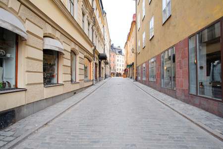 inhabited: landscape with the image of Old Town street in Stockholm, Sweden
