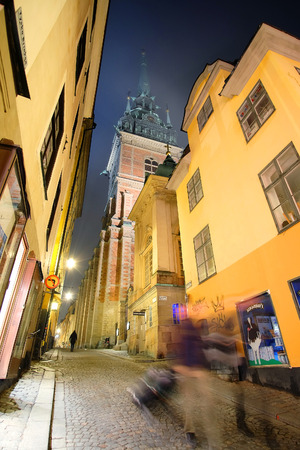 scandinavian peninsula: Stockholm, Sweden - March, 16, 2016: night cityscape with the image of a center of Stockholm, Sweden