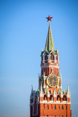 spasskaya: chiming clocks on a Spasskaya tower in Moscow Kremlin, Russia Stock Photo