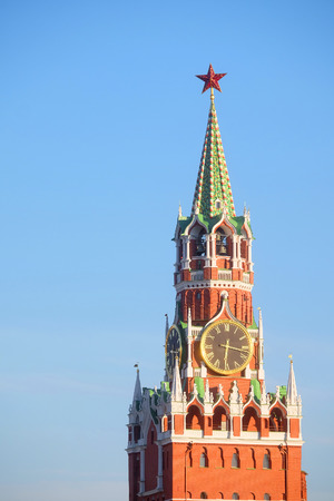 chiming: chiming clocks on a Spasskaya tower in Moscow Kremlin, Russia Editorial