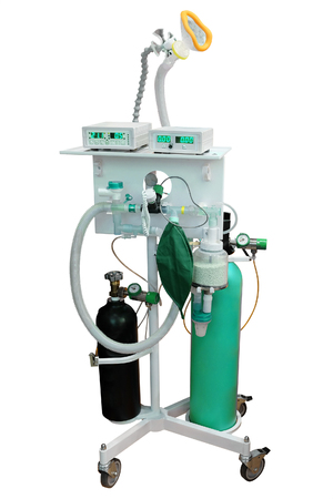 medical ventilator: artificial respirating unit isolated under the white background Editorial