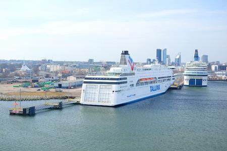 tallin: Tallin, Estonia - April, 6, 2016: cruise ship in Tallin harbour, Estonia