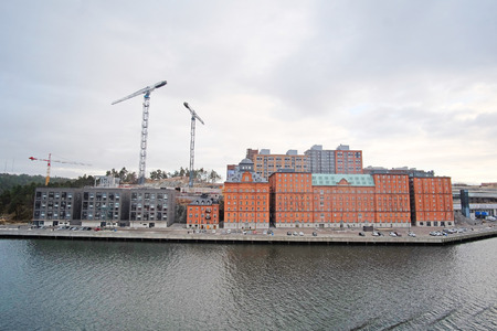 scandinavian peninsula: Stockholm, Sweden - March, 17, 2016: Panorama of Stockholm, Sweden with tower cranes