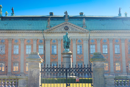 scandinavian peninsula: Stockholm, Sweden - March, 16, 2016: Monument of  Axel Oxenstierna, Lord High Chancellor of Sweden, in Stockholm. Editorial