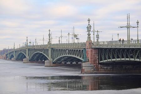 piter: St. Petersburg, Russia - March, 13, 2016: Liteyniy bridge in St. Petersburg, Russia