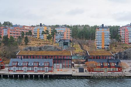 scandinavian peninsula: Stockholm, Sweden - March, 16, 2016: landscape with the image of Stockholm, Sweden
