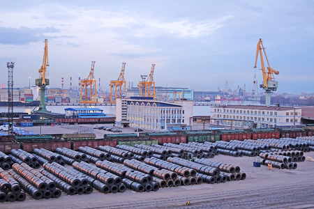 piter: St. Petersburg, Russia - on April 3, 2016: Cargo port in St. Petersburg, Russia