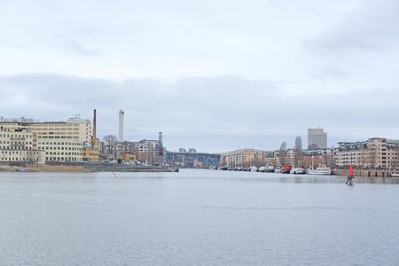 scandinavian peninsula: Stockholm, Sweden - March, 19, 2016: The image of Baltic sea bank near Stockholm, Sweden