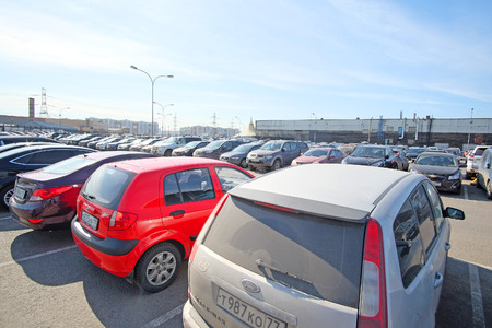 congested: Moscow, Russia - March, 28, 2016: The image of a car parking in Moscow, Russia Editorial