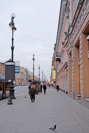 prospect: St. Petersburg, Russia - March, 13, 2016: View of Nevskiy prospect, St. Petersburg, Russia Editorial